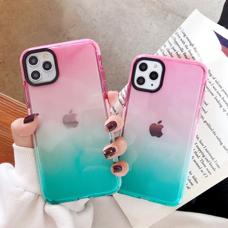 Gradient Shockproof Phone <font><b>Case</b></font> For <font><b>iPhone</b></font> 11 11 Pro Max XR XS Max X 8 7 Plus XS Transparent Soft Anti-knocked <font><b>Bumper</b></font> Back Cover image