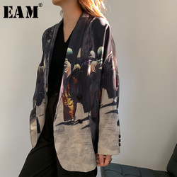 [EAM]  Women Black Printed Back Striped Big Size Blazer New Lapel Long Sleeve Loose Fit  Jacket Fashion Spring Autumn 2020 1W486