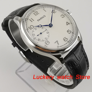 Image 3 - Parnis 44mm Manual mechanical watch white dial 17 jewels 6497 hand winding movement Casual Men watches