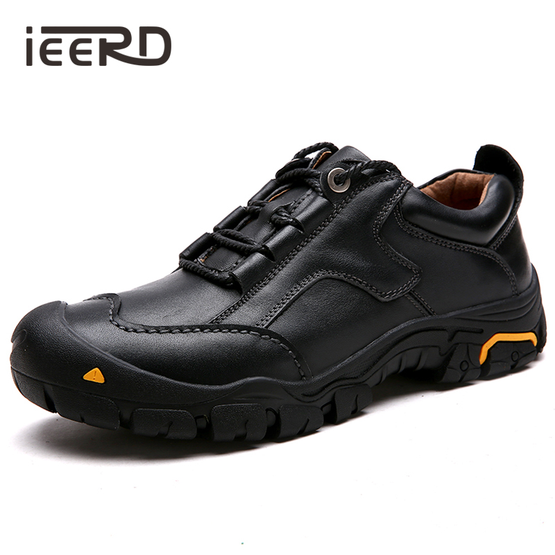 IEERD 100% Genuine Leather Shoes Men Outdoor Casual Men Shoes Quality Winter Shoes With Fur Lace-Up Flats Man Footwear