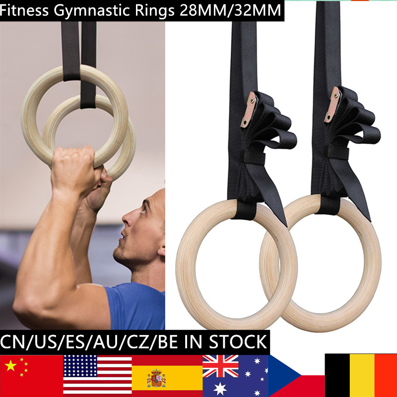 2PC/4PC 1SET Birch Wooden 28mm/32mm Exercise Fitness Gymnastic Rings Gym Sports Fitness Equipment Pull Ups Muscle Ups
