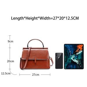 Image 4 - Zency 100% Genuine Leather Retro Brown Women Tote Bag Small Flap Daily Casual Shoulder Messenger Bags Black Grey Handbag