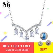 New Arrival 100% 925 Sterling Silver Sparkling Crystal Pendant Necklaces For Women Wedding & Engagement Jewelry Gift