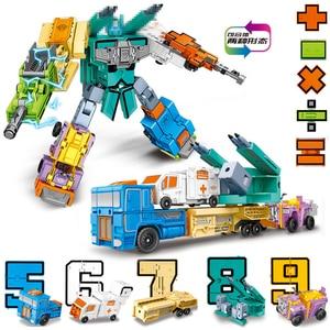 Image 4 - مصغرة 26 قطعة الحروف و 0 إلى 9 أرقام روبوت تشوه الأبجدية التحولات تجميعها هدية عيد ميلاد الاطفال ألعاب تعليمية