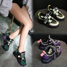 Amarillo púrpura moda baloncesto femme Sneakers mujer 2019 nuevo Vintage grueso Sneakers Mujer Zapatos verde rojo papá Sneakers plataforma