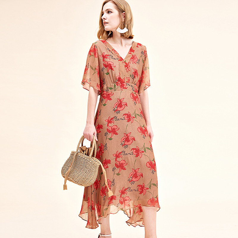 beige red floral silk dresses women 2020 summer long casual office work beach boho party dress plus size fashion slim dropship