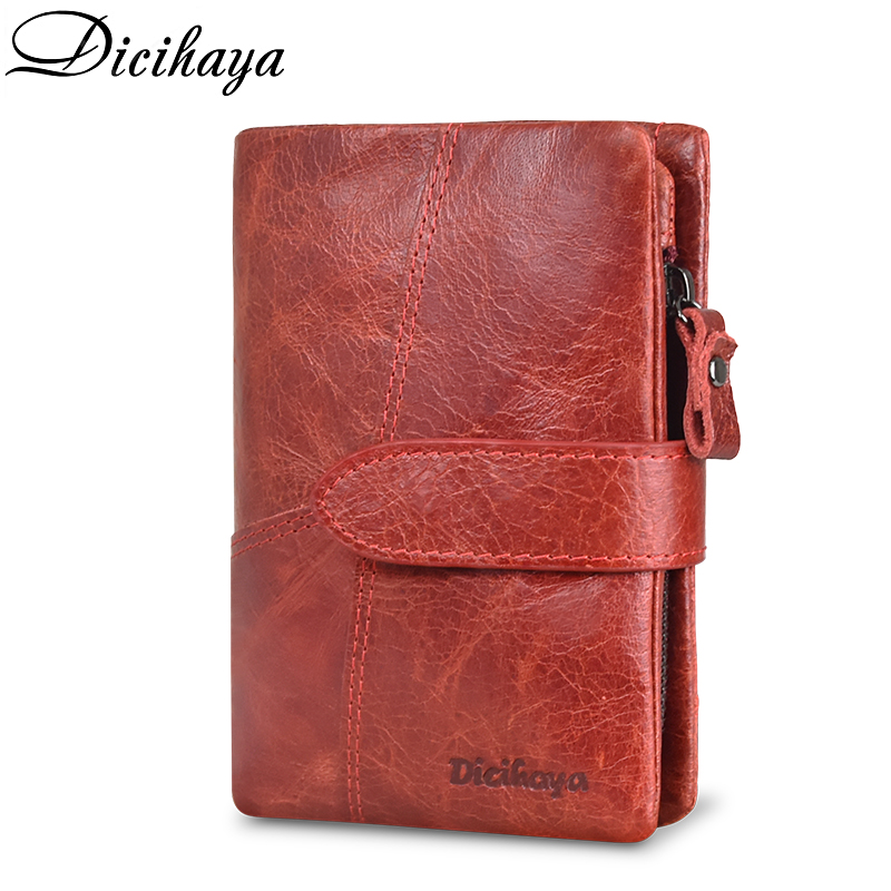DICIHAYA Genuinn Leather Women Wallet Hasp Small Coin Pocket Red Leather Women Wallets Cards Holders Luxury Brand Designer Purse