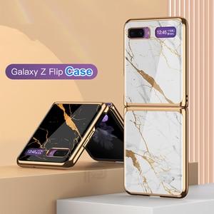 Image 2 - Étui en verre trempé en marbre pour Samsung Galaxy Z étui à rabat cadre de placage coque arrière rigide pour Samsung Galaxy Z rabat Capa de luxe