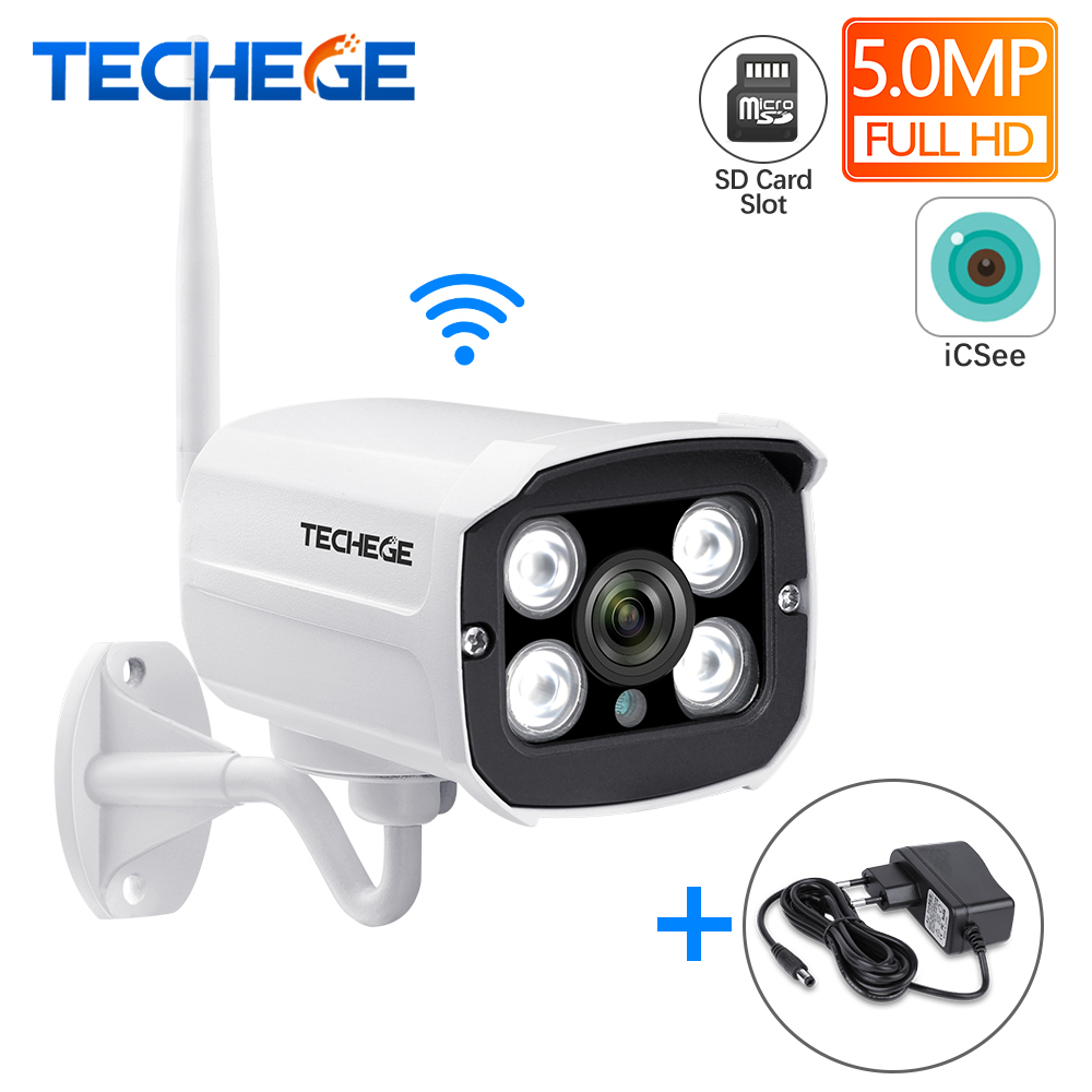 Techege Super HD 5.0MP Wired Wifi Camera Waterproof Night Vision Wireless Camera Motion Detection SD Card Slot Onvif Camera