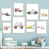 Cuadro sobre lienzo para pared de niños y bebés, carteles nórdicos e impresiones de imágenes de pared, camión de bomberos y Policía, avión, decoración de habitación