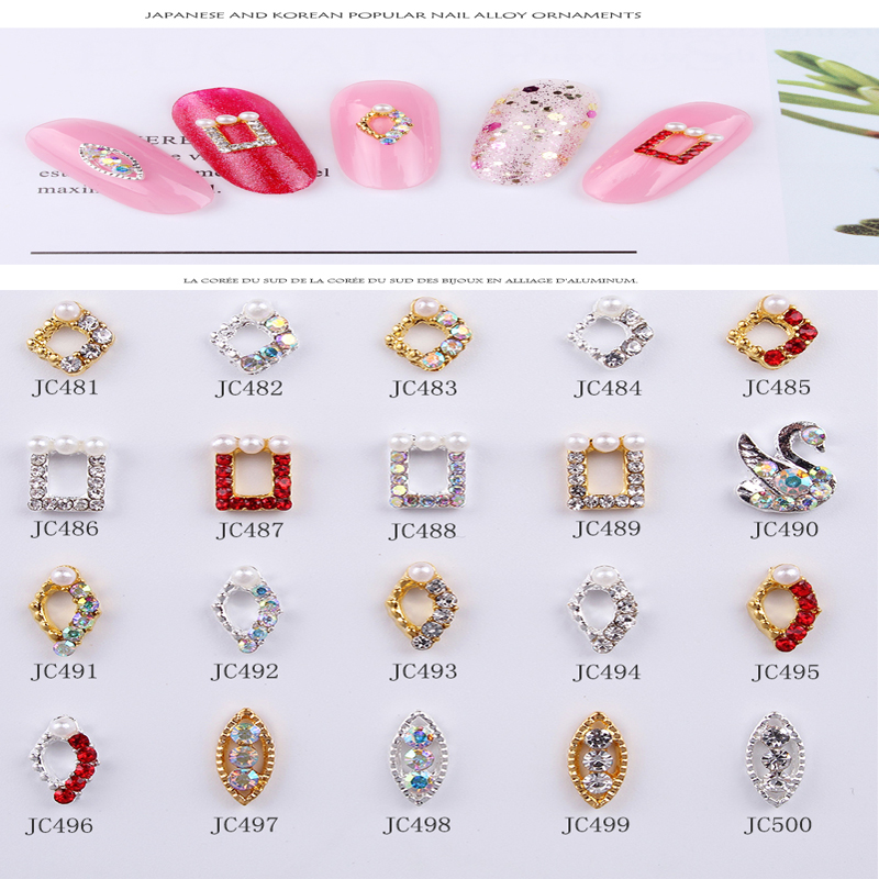 100pcs/lot Nail Crystal Rhinestones Swan Design Colorful  Jewelry For Art Decor Charms JC461