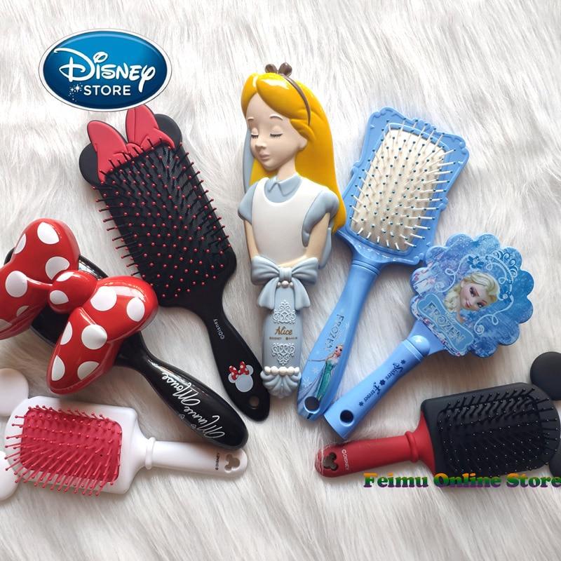 Disney reine des neiges peigne 3D Mickey Minnie peigne Elsa antistatique coussin d'air soins des cheveux brosses bébé filles habiller maquillages jouet cadeaux