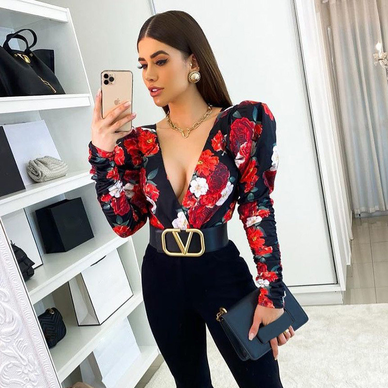 2021 Spring Elegant Boho Print Bodysuits Rompers Women Jumpsuits Puff Sleeve Skinny Sexy V-neck Bodies Ladies Casual Overalls 1