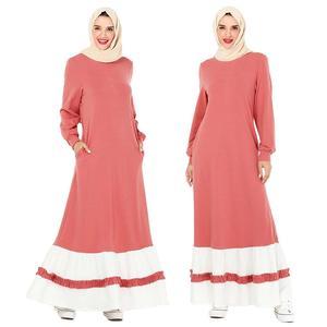Women Casual Patchwork Long Dress Muslim Abaya Arab Jilbab Dubai Ramadan Islamic Turkish Clothing Long Sleeve Pockets Mubarak