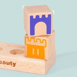 Image 4 - Montessori Camelot Jr Wooden Building Blocks Toys Prince Save The Princess Interactive Games for Kids 3d blocks Christmas Gifts