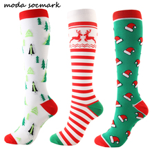 2019 Autumn Winter New Arrival Happy Socks Men/Women Creative Christmas Hat Tree Elk Couple Sock Casual Compression Long