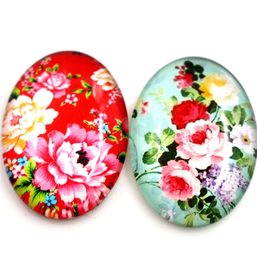 New Fashion  2pcs 30x40mm Handmade Photo Glass Cabochons (Fashion Flowers)
