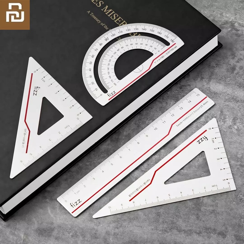 Youpin Fizz 5 Pcs / Set Aluminum Ruler 30cm Ruler Square Triangle Ruler Aluminum Alloy Protractor Set Drawing School Supplies