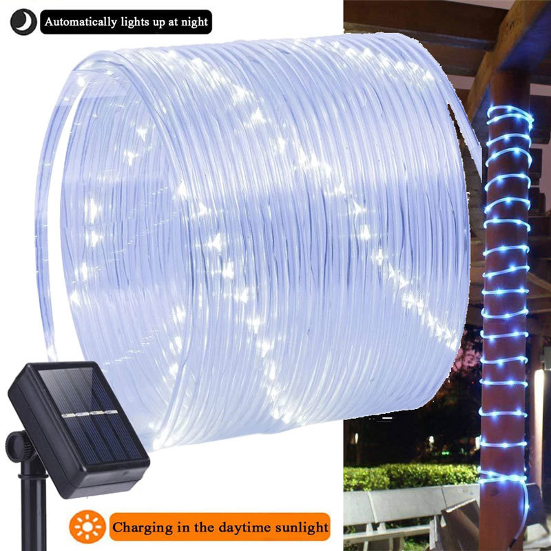 50/100 LEDs Solar Powered Rope Tube String Lights Outdoor Waterproof Fairy Lamps Garden Garland For Christmas Yard Decoration