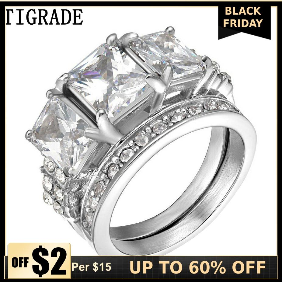 TIGRADE 2pcs Gold Stainless Steel Ring Set Women Paved Zircon Crystal Bridal Jewelry Romantic Engagement Wedding Rings Anel Sale