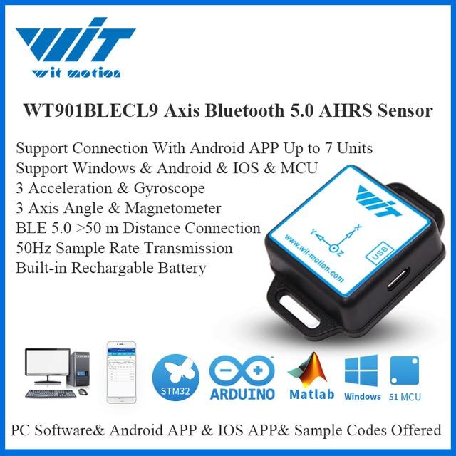 WitMotion Sensor de ángulo de 9 ejes para ordenador y Android, dispositivo de bajo consumo con Bluetooth BLE 5,0, 50m, WT901BLECL, giroscopio de aceleración y magnetómetro