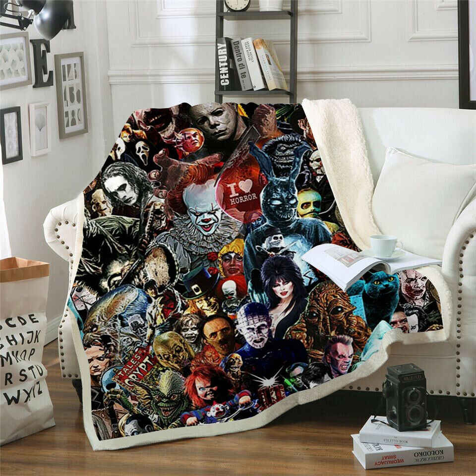 Newest Horror Movie Child of Play Character Chucky Blanket Gothic Sherpa Fleece Wearable Throw Blanket Microfiber Bedding 001