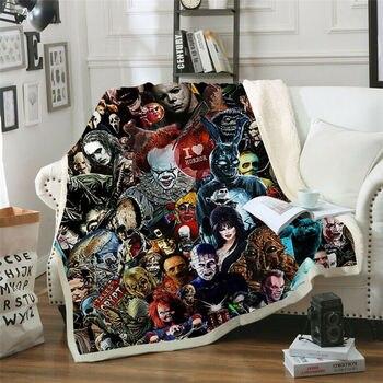 цена на Newest Horror Movie Child of Play Character Chucky Blanket Gothic Sherpa Fleece Wearable Throw Blanket Microfiber Bedding 001