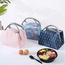 Портативный изолированный холст Термосумка для обедов еда пикника Сумки для обедов для женщин дети мужчины печати ланч бокс сумка