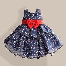 Ngôi Sao In Nơ Màu Đỏ 100% Lớp Bông Bé Gái Đầm 1 Năm Sinh Nhật Cưới Quần Áo Trẻ Em Trẻ Sơ Sinh Cho Bé Khi Mặc 3M 6M 12 4