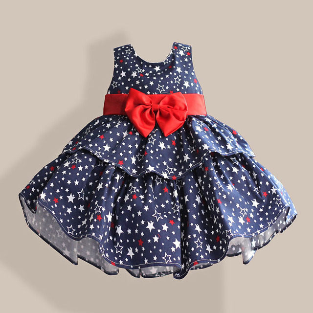Star Print Red Bow 100% Cotton Layers Baby Girls Dress 1 year birthday party wedding kids clothes infant toddler wear 3M 6M 12 4