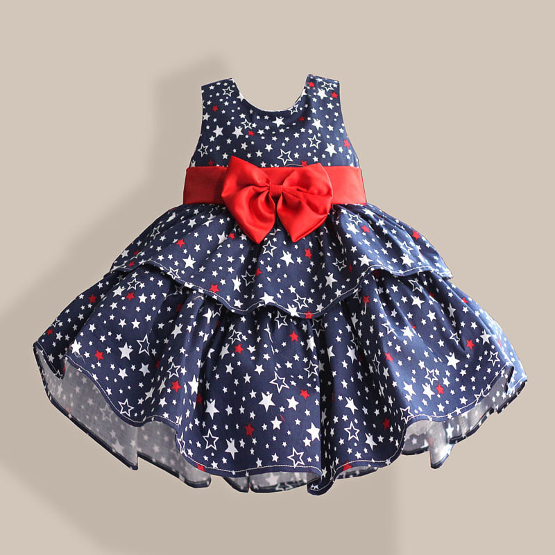 Star Print Red Bow 100% Cotton Layers Baby Girls <font><b>Dress</b></font> 1 <font><b>year</b></font> <font><b>birthday</b></font> party wedding kids clothes infant toddler wear 3M 6M 12 <font><b>4</b></font> image