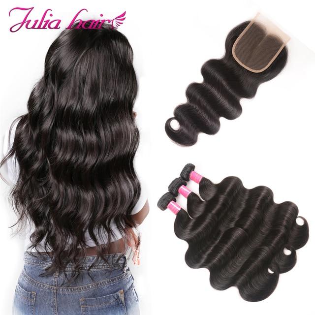 Ali Julia Hair 3 lub 4 zestawy z zamknięciem brazylijski ciało fala wiązki ludzkich włosów z zamknięciem 4*4 szwajcarska koronka Remy włosy