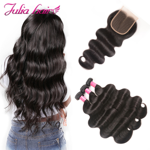Image 3 - Brazilian Body Wave Human Hair with Closure Remy Hair 4*4 Swiss Lace Closure with Hair Weave Ali Julia 3 Bundles with Closure
