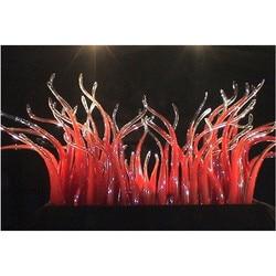 Luxury Crystal Art Craft Red Glass Floor Art Hand Blown Murano Glass Sculpture for Hotel Showroom
