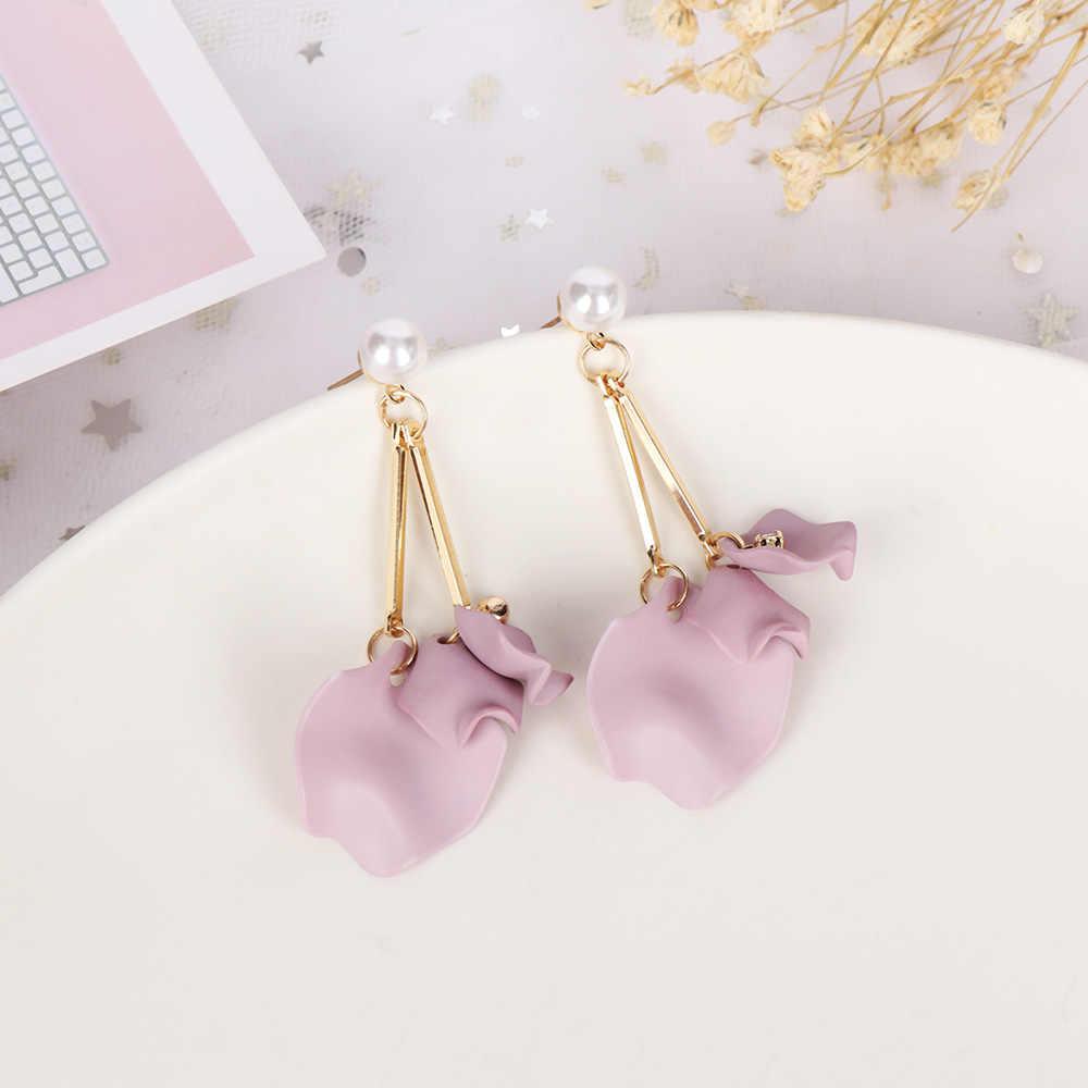 Корейский сладкий розовый фиолетовый лепестка, цветок серьги модные длинные жемчужные серьги sexemara серьги с барочным жемчугом для женщин Свадебные украшения