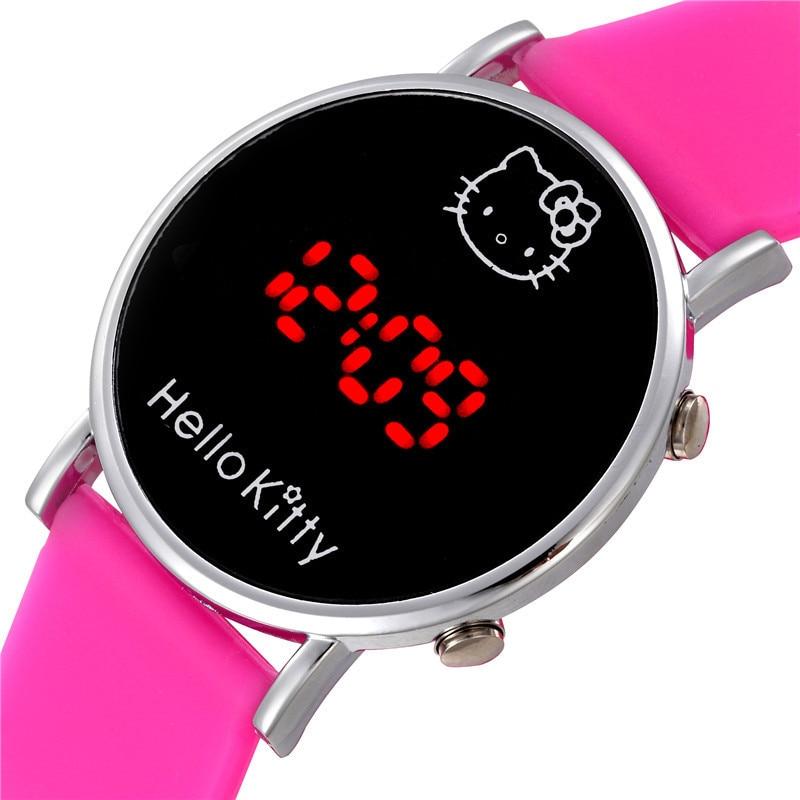 Hello Kitty Women Kids Watch Girls Silicone LED Electronic Sports Watch Gifts For Kids Children's Cartoon Wrist Watch Clock