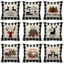 Cushion-Cover Pillowcase Decorative-Throw Sofa Christmas-Decor Retro Home Deer Plaid