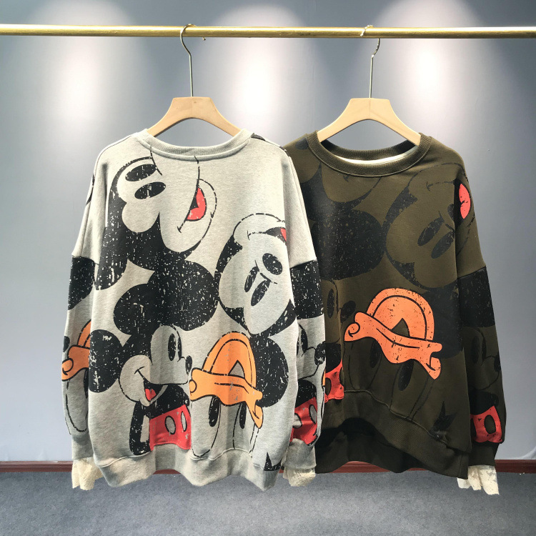 19 Autumn And Winter New Korean Round Neck Women's Fashion Cartoon Wild Student Shirt Loose Large Size Women's Clothing
