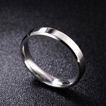 Moredear 4mm 6mm 8mm brilhante e maçante polonês prata cor titânio anel para homem e mulher casal anel