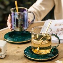 Fun Fervent Nordic Turkish Style Royal Glass and Saucer Set Modern Design Glass Simple Gold Edge Coffee Mug Tea Cup Set