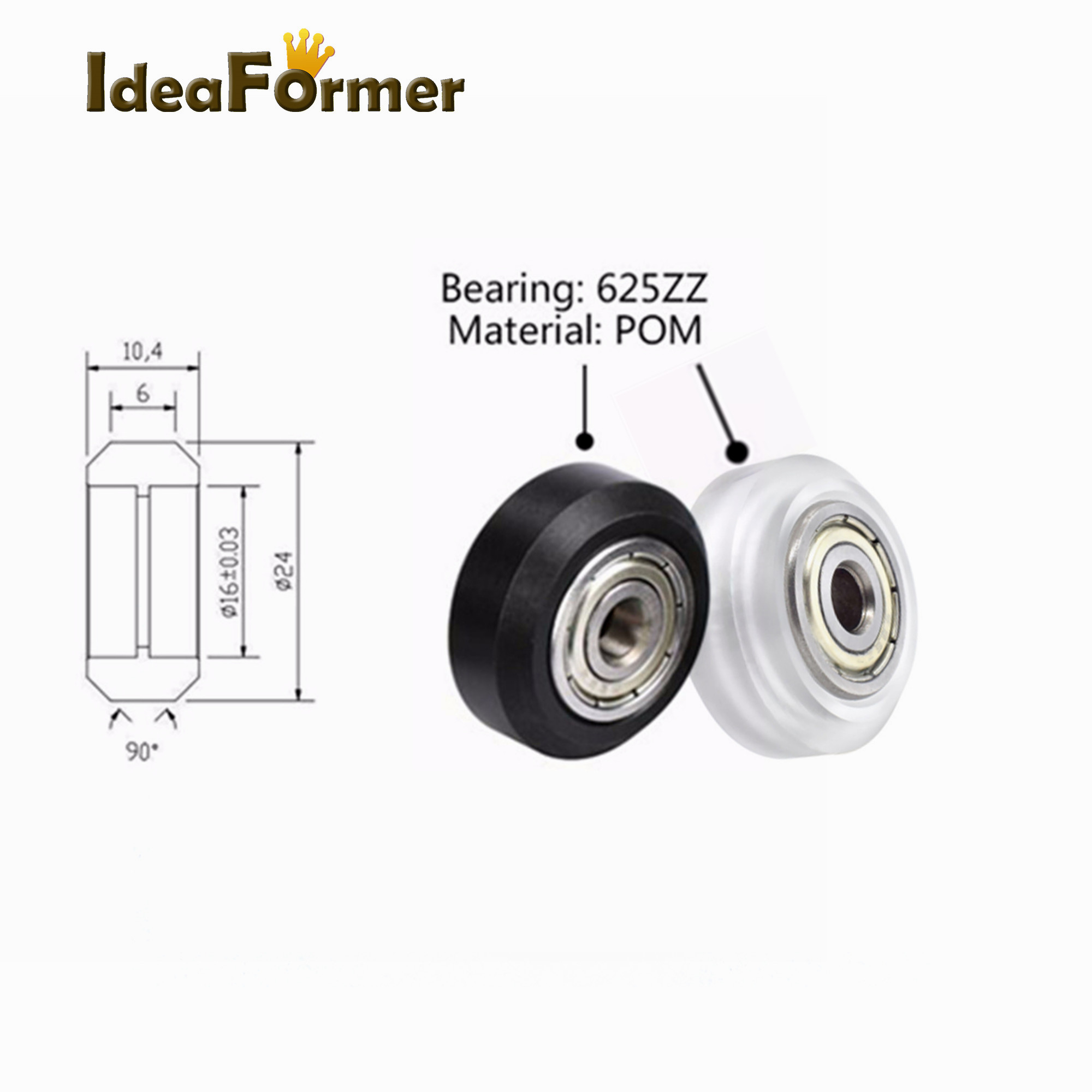 5Pcs Openbuilds CNC Black/Clear Polycarbonate V-groove Wheel Pulley 625ZZ Bearing POM Plastic Wheel For CNC 3D Printer Parts.