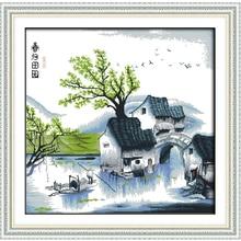 Joy Sunday,Countryside,cross stitch embroidery set,cross pattern,cross needlework,Scenery picture cross kit