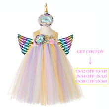 Girls Birthday Party Unicorn Dress Fluffy Princess Clothes Kids Christmas Tutu + Headband Angel Wing