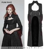 PUNK RAVE Women's Gothic Retro Court Gorgeous Long Coat Fashion Personality Party Club Christmas Halloween Black Jacket Coats