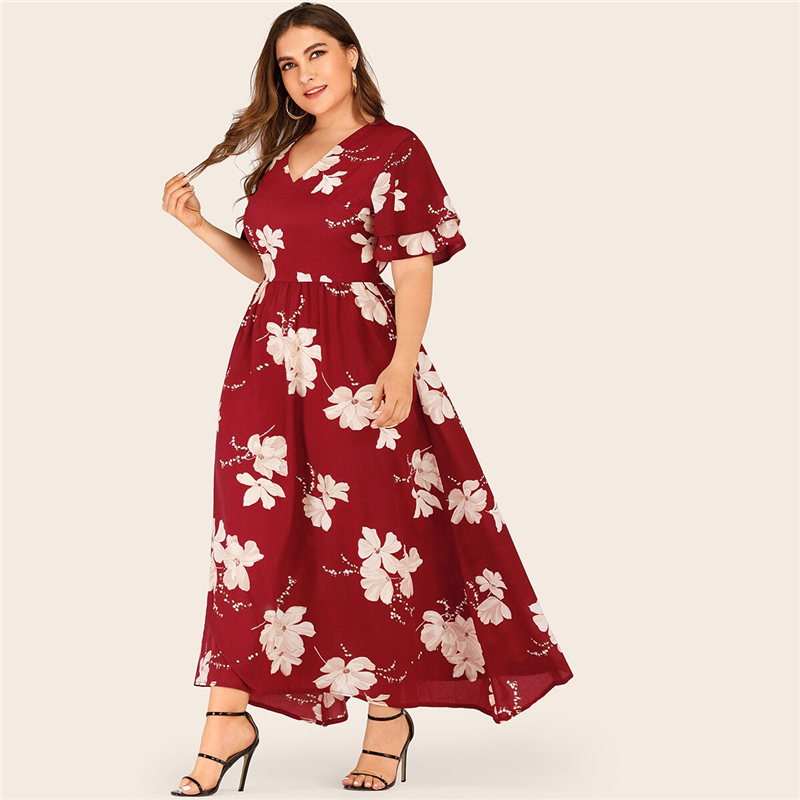 Plus Size Large Floral Print Layered Sleeve Maxi Dress