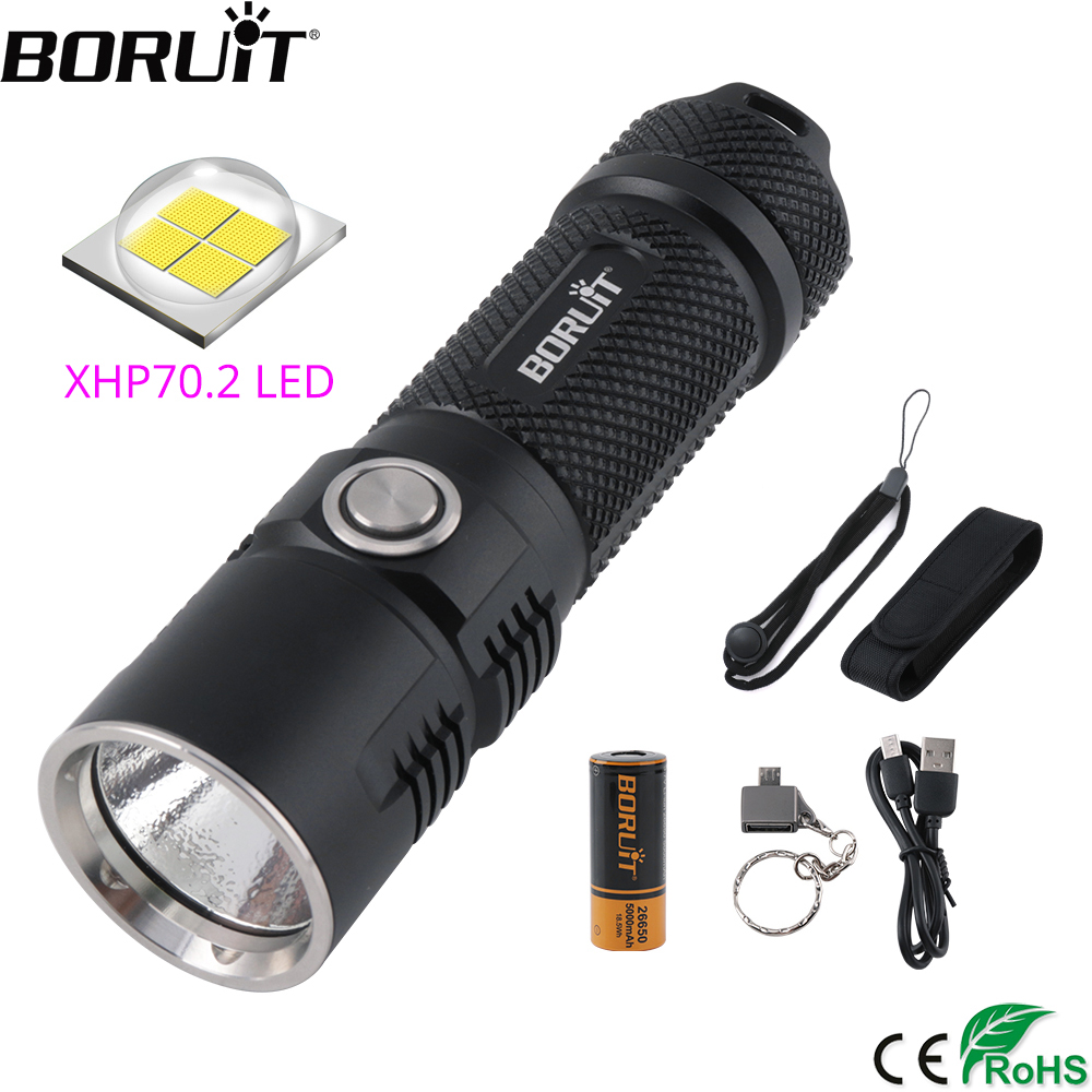 BORUiT BC10 XHP70.2 LED Flashlight 6-Mode USB Charger Torch Max 3600LM Power Bank Lantern Camping Flash Lamp By 26650 Battery
