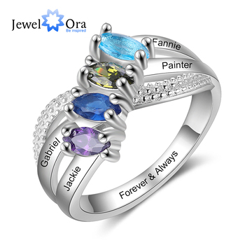 JewelOra Personalized Family Name Engraved Rings for Women Customized 4 Birthstones Silver Color Copper Ring Anniversary Gifts uny ring 925 sterling silver mother customized engrave rings family heirloom ring anniversary personalized love birthstone rings