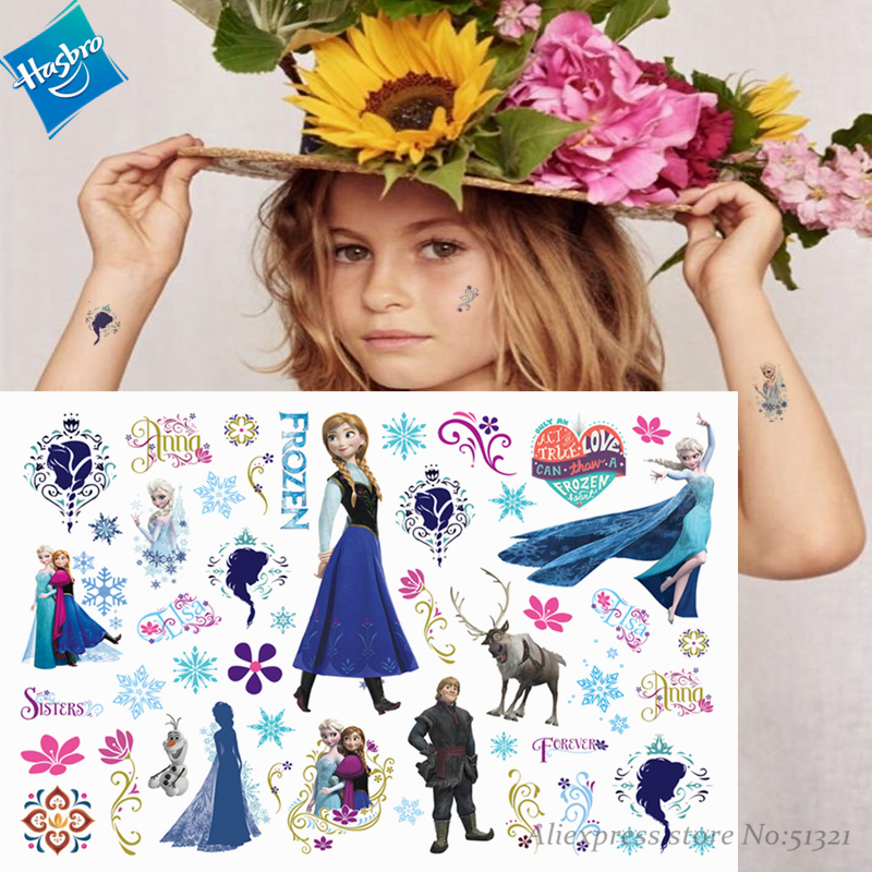 Hasbro Princess Elsa Frozen Children Cartoon Temporary Tattoo Sticker For Girl Cartoon Toy Waterproof Birthday Party Funny Gift
