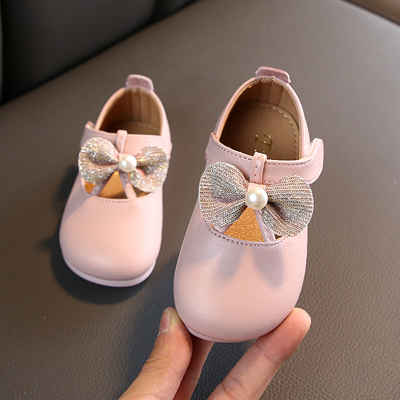 Shoes Rhinestone Soft-Sole Bowknot Girls'walking Autumn Baby Princess New And Comfortable