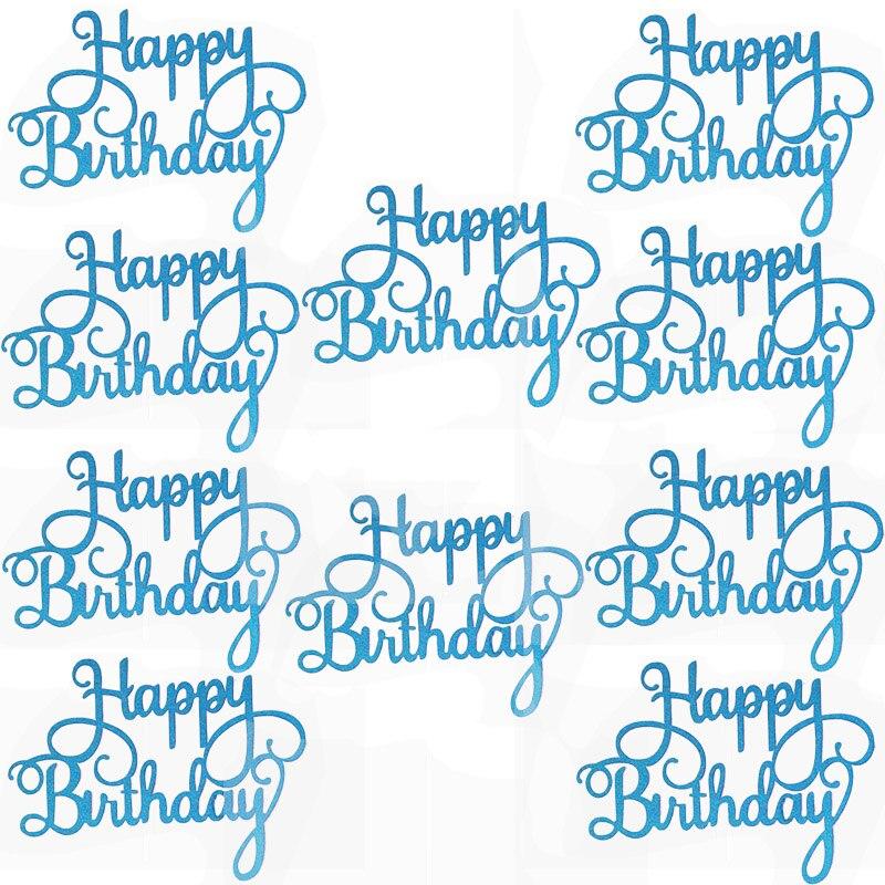 10pcs Gittler Happy Birthday Cake Topper Bling Sparkle Decoration Sign Happy Birthday Cake Topper Girl`s Birthday Dessert Decor 3